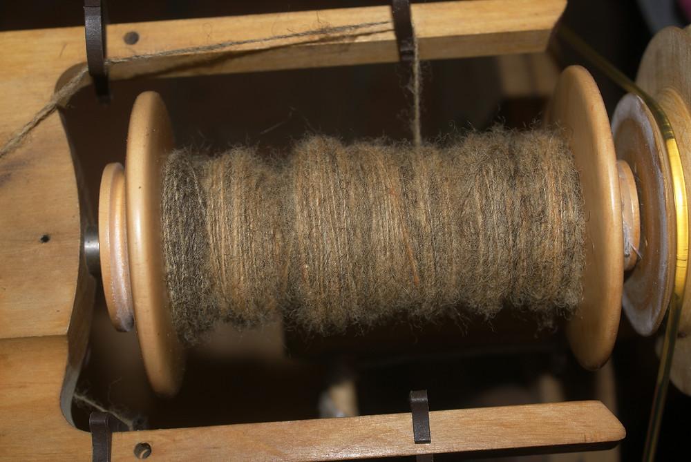 filage  alpaga marron laine teintée oignons