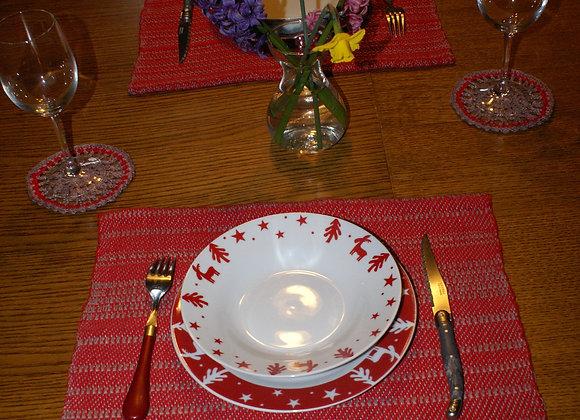 set de table coton rouge