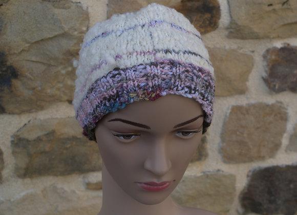 Bonnet laine de pays écrue, rose, marron