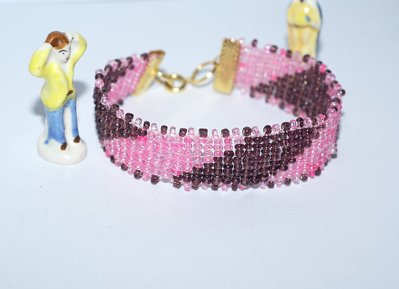 Bracelet marron et rose tissé en perles de verre