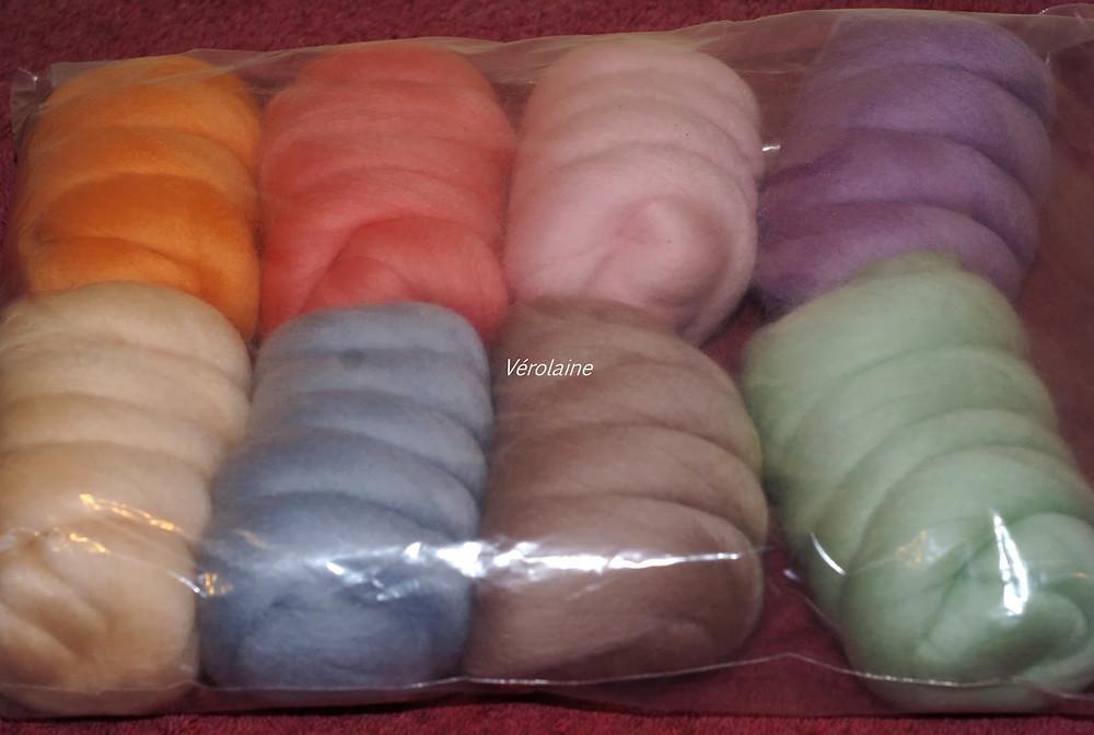 mérinos ruban  couleurs assorties filage feutrage