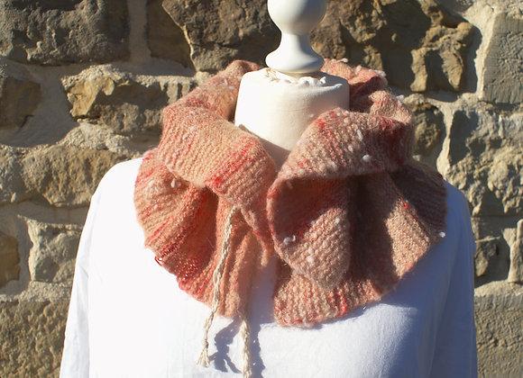 Echarpe col snood pure laine de pays teinture végétale rose