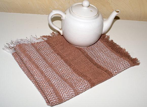 Napperon a thé en coton lin marron
