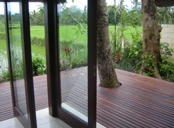 Balcony corner with view to the rice fie