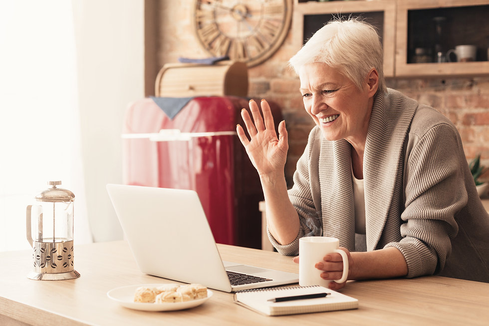 Adult Senior doing Speech Therapy online