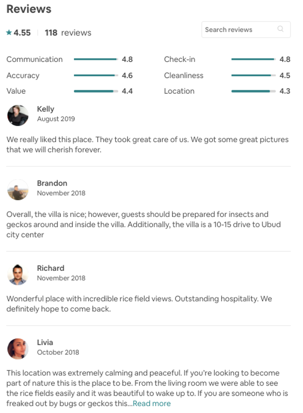 Violet Villa reviews from Airbnb
