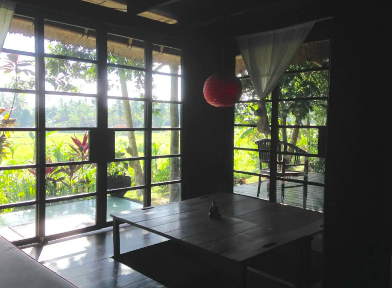 Living room view to the rice fields