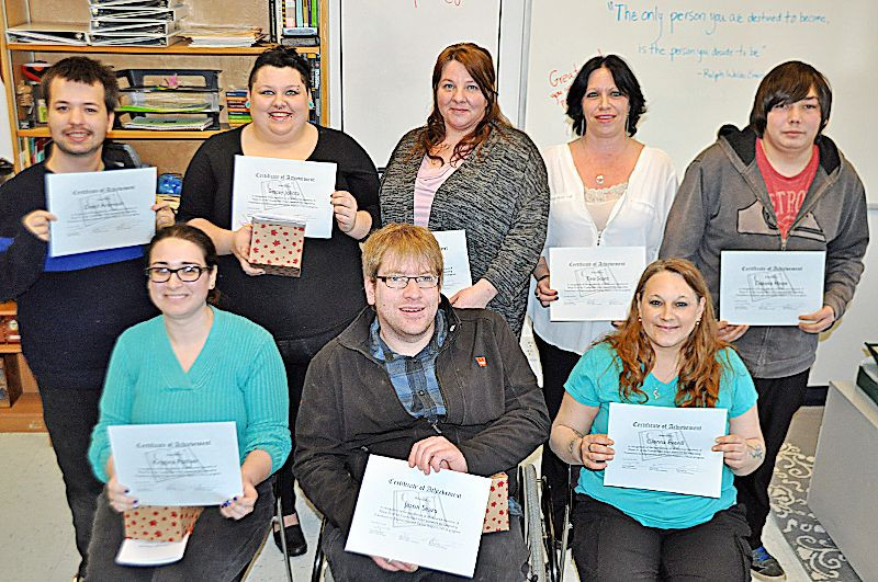The Transitions to Employment and Career Support program is helping its participants change their lives by overcoming barriers that prevent them from steady, long-term employment. The latest CAN-U graduation class includes: (front, from left) Kristina Pothier, Jason Sears, Glenna Everill, (back, from left) David Arsenault, Stacey Jollota, Sarah Harrison, Tina Scott and Dakota Hope. © Darrell Cole - Cumberlandnewsnow.com