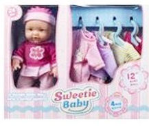 Sweetie Baby Doll & 4 Outfits & Carrier
