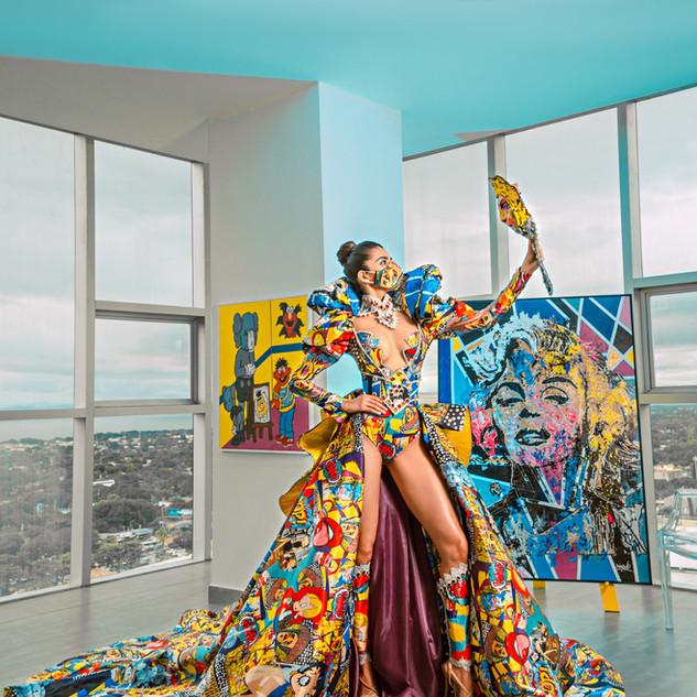 DIOSA DEL POP ART  Fashion Designers Erick Bendaña @erickbendana08 & Artist @sikone.art  Nicaragua  Model @berexuoficial Hair & Makeup @alexmiller.makeup Photo @frankp0veda  #RunwayFX #MetroFW  Created by Metropolitan Fashion Week