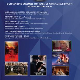 "JAMES MACKINNON, GLENN HETRICK, SHAUNA LLEWELLYN &  SANDY SOKOWLOSKI   - ""STAR TREK: DISCOVERY"" WIN ""OUTSTANDING ENSEMBLE FOR MAKE-UP ARTISTS & HAIR STYLISTS"""