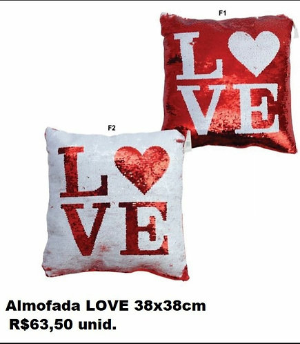 ALMOFADA LOVE PAÊTES 38 X 38CM