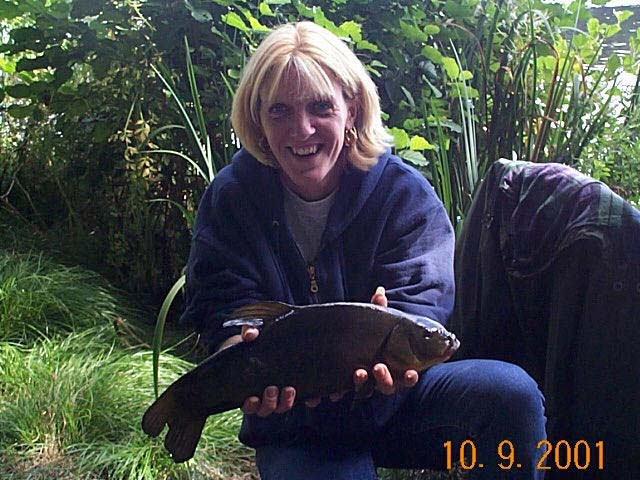 Rachel Goddard with 4lb 6oz tench from mytchett