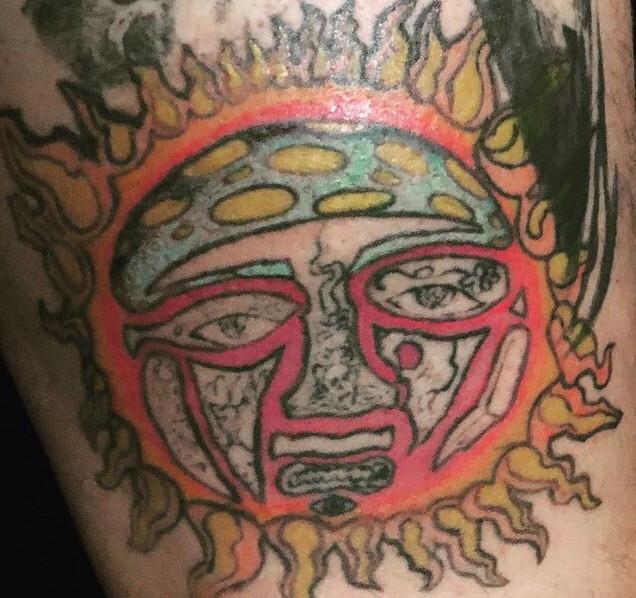 sublime sun in progress on my leg