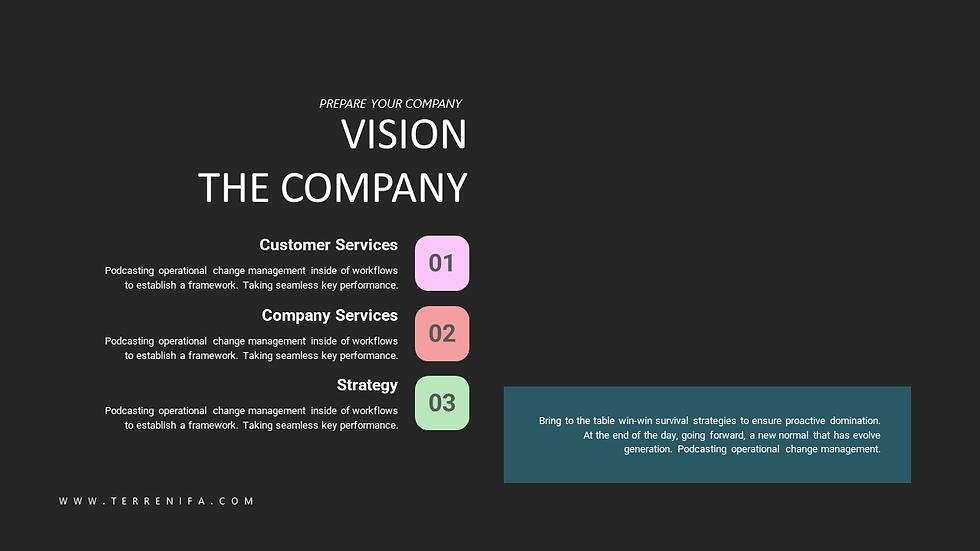 회사소개 및 서비스 소개용 검정배경 PPT템플릿 색감있는 차트구성