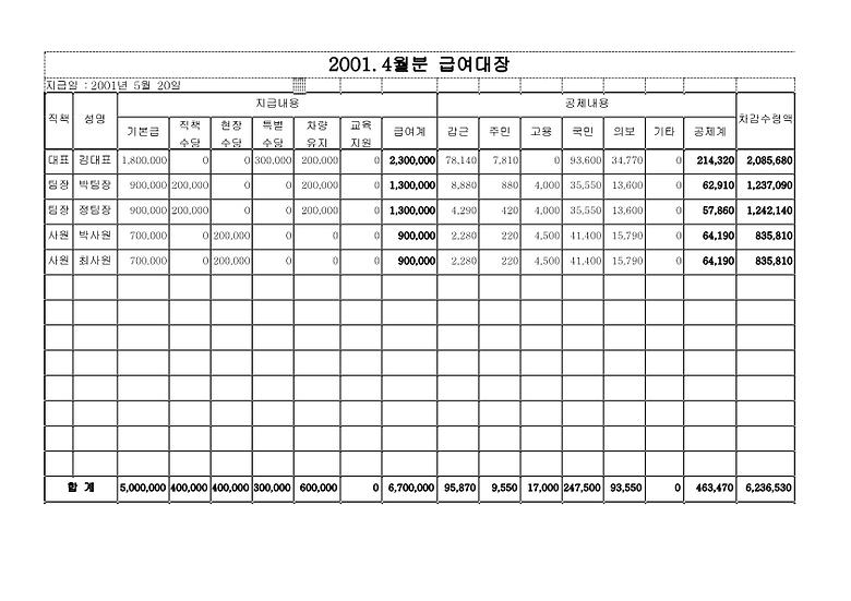 급여지급명세서 (급여내용 및 공제내역 상세) 서식