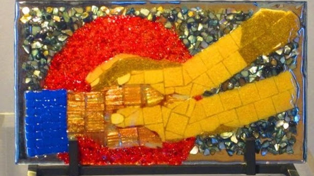 Helping hand art glass mosaic