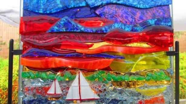 sailboat artwork mosaic, Sailin' til Sunset