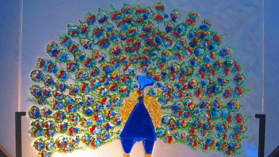 Peacock artwork glass mosaic