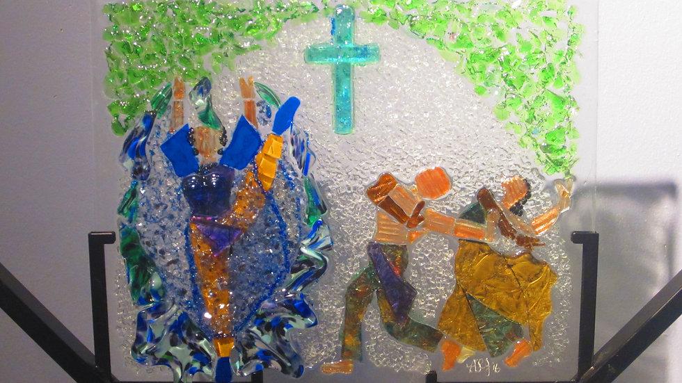 Praise dancers art glass mosaic