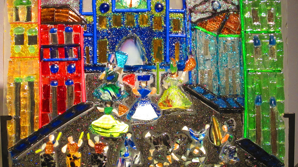 Carnival art glass mosaic