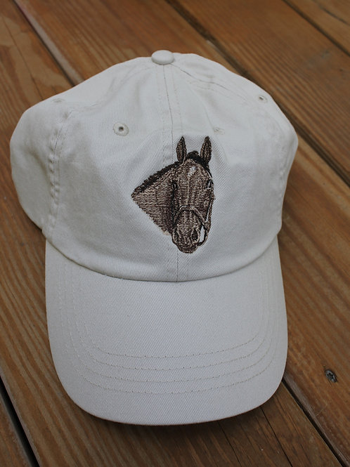 Embroidered Horsehead on a Twill Cap