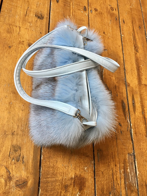 Italian Dyed Fox and Leather Handbag