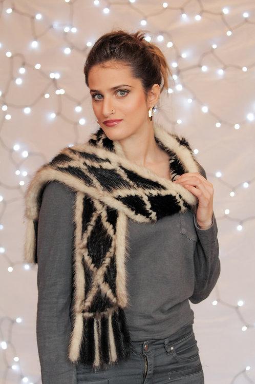 Knitted Mink Scarf - Black & Beige