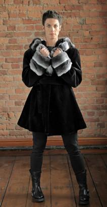 Black Sheared Mink Coat with Chinchilla Trim