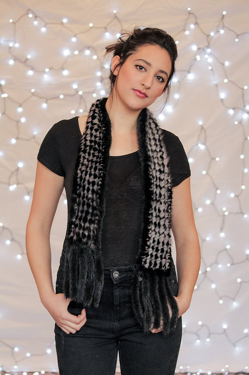 Knitted Mink Scarf - Black & Grey