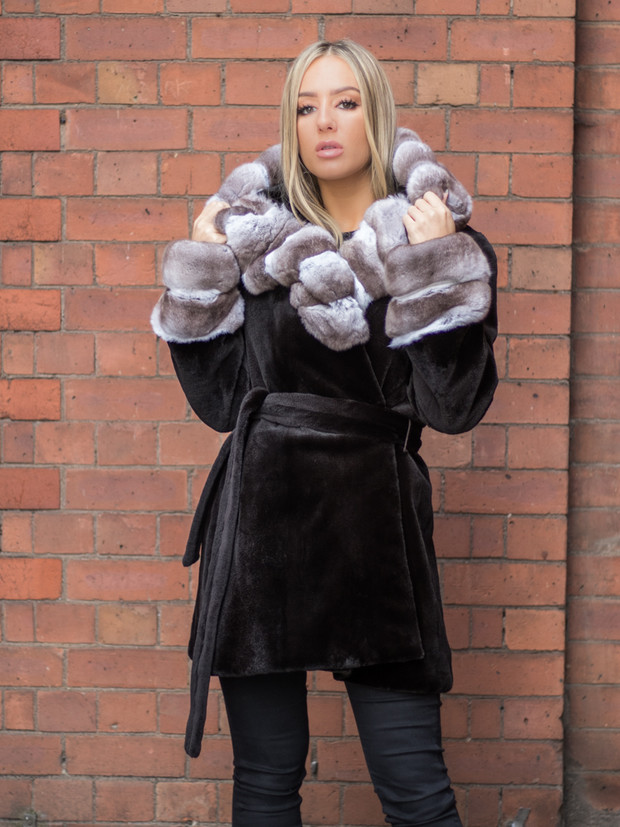 Brown Sheared Mink Coat with Chinchilla Trim