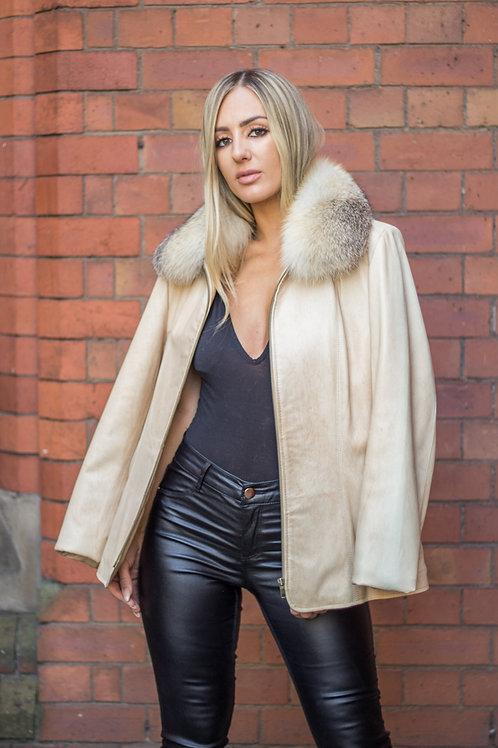 Beige Leather Jacket With Golden Island Fox Trim