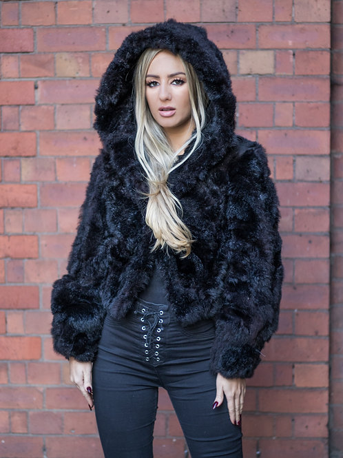 Opossum Fur Bomber Jacket with Hood