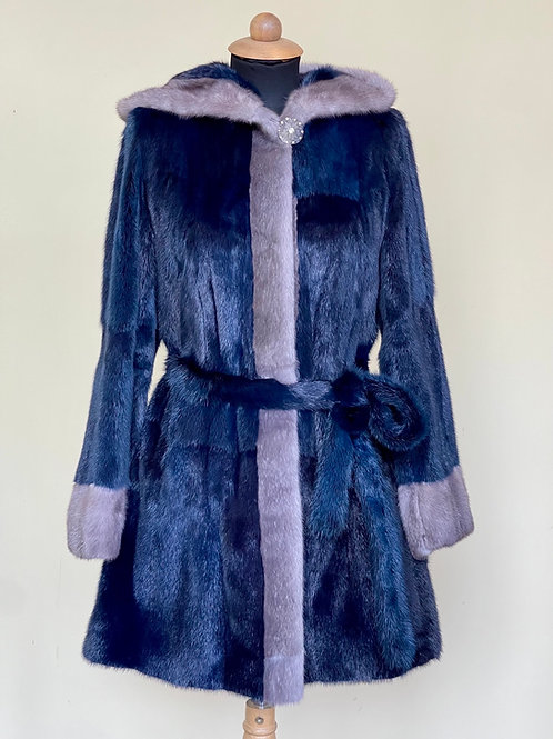 Blue Iris and Navy Mink Coat