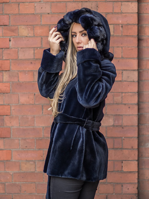 Navy Sheared Mink Jacket / Chinchilla Hood