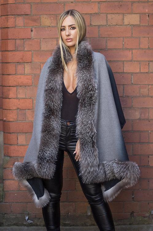 Cashmere Wrap With Saga Fox Fur Trim