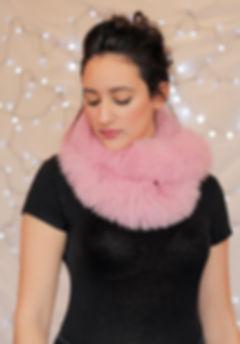 Pink Fox Fur Looped Scarf