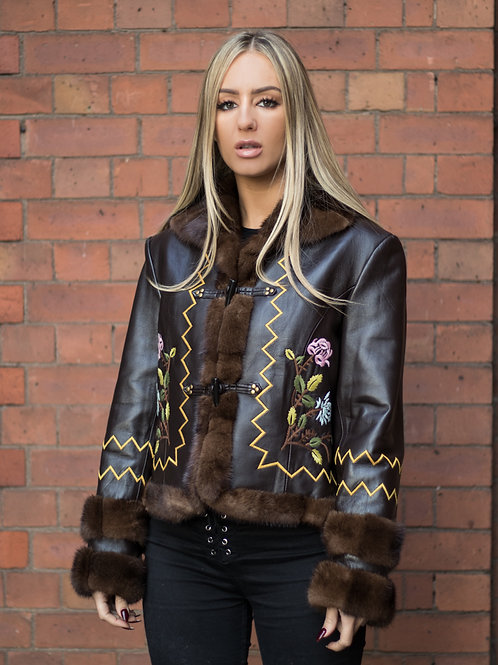 Nappa Demi Buff Mink Embroidered Jacket