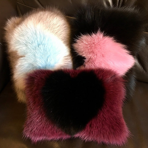 Heart Fur Cushion, Car Headrest Cushion, Fox Fur Cushion,Valentines Fur Cushion