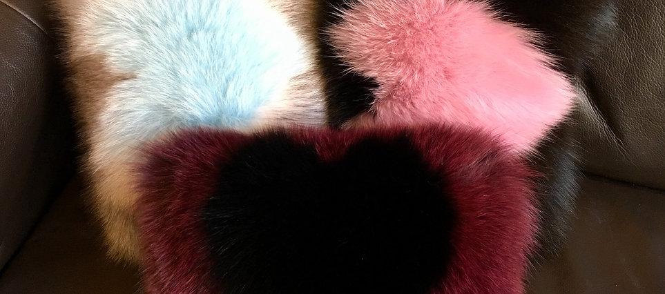 Heart Fur Cushion, Car Headrest Cushion, Fox Fur Cushion,Valentines Fur Cushion