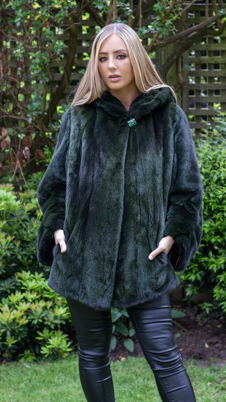 Bottle Green Mink Jacket