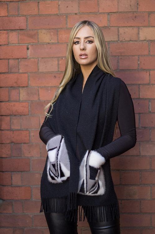 Cashmere scarf with decorative fur