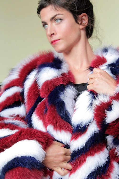 Fox Coat - Multi Coloured  - Red, White & Blue