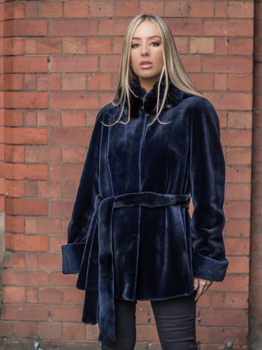 Navy Sheared Mink Jacket with Dyed Navy Chinchilla Hood