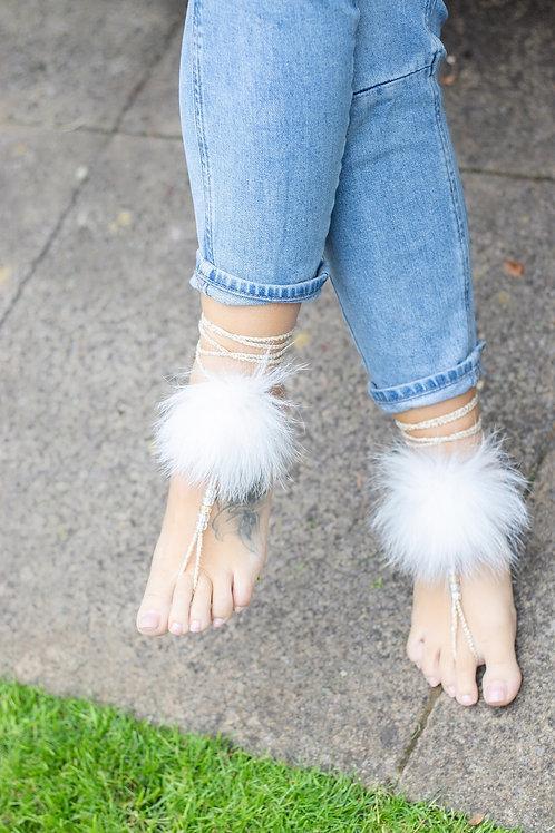 Fox Fur Barefoot Sandals