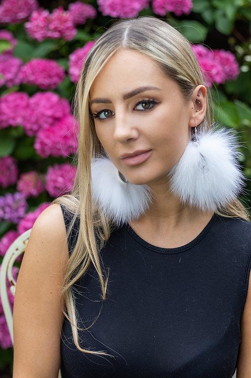 Large Sterling Silver & Fox Fur Hoop Earrings