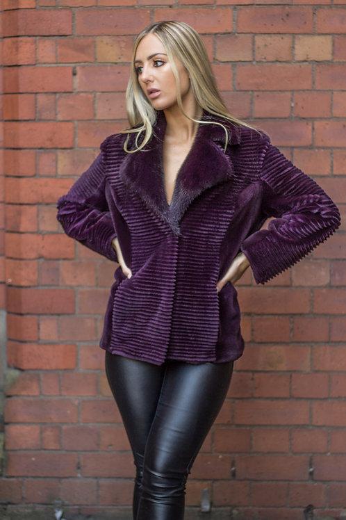 Purple Sheared Mink Jacket
