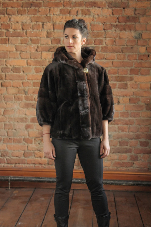 Whitney - Brown Sheared Mink Jacket