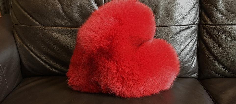 Heart Fur Cushion, Fox Fur Cushion, Valentines Fur Cushion