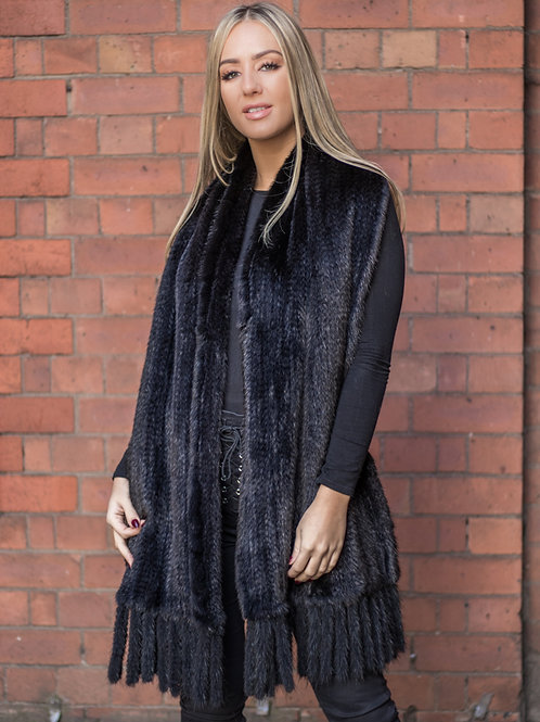 Black Dyed Mink Knitted Scarf